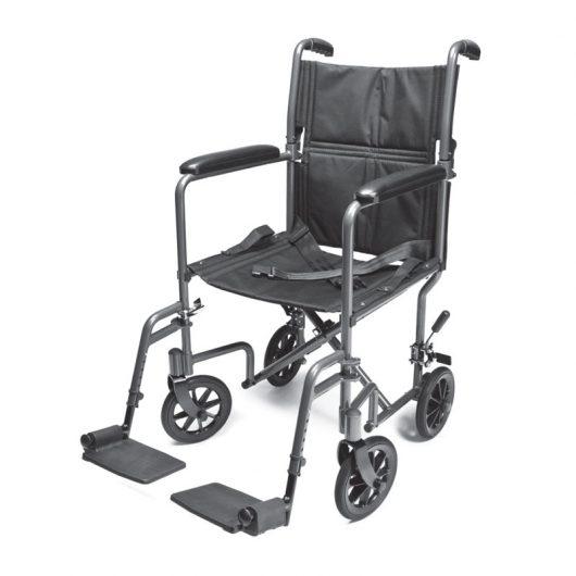Lightweight Aluminum Transport Chair – 17″ (Silver), Everest & Jennings
