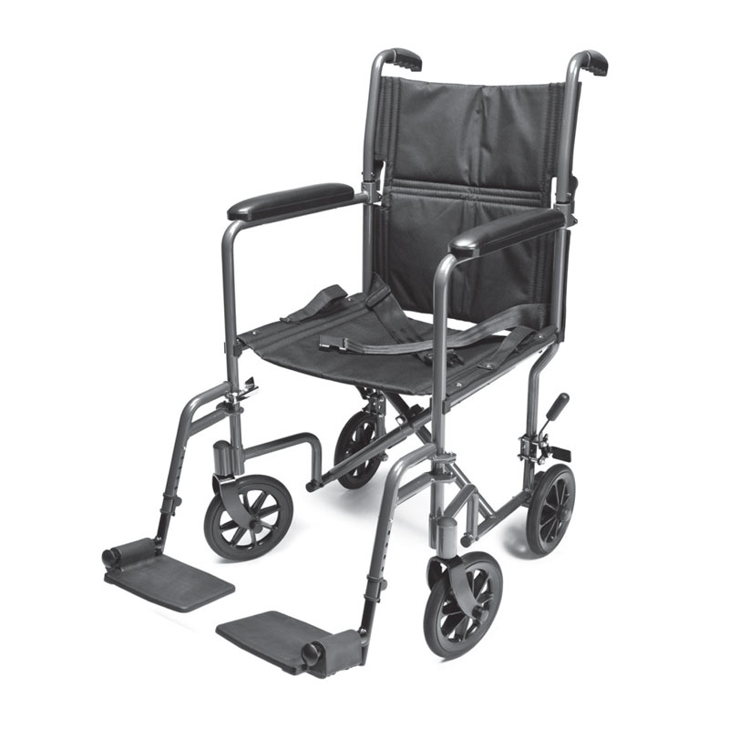 Lightweight Aluminum Transport Chair – 17″ (Silver), Everest & Jennings